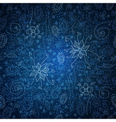 Blue seamless pattern with ornate doodle flowers vector