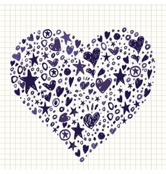 Abstract background with hearts and stars shapes vector