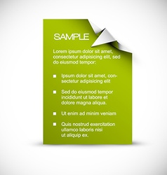 Green card with origami corner vector image