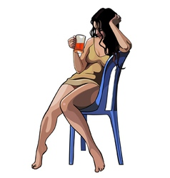Beautiful girl with a glass sitting on a chair vector