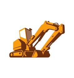 Bulldozer front retro vector