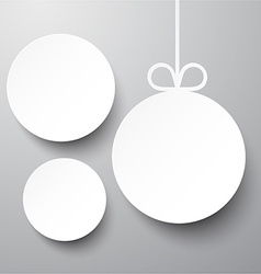 White paper round holiday labels vector