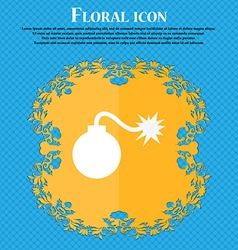 Bomb icon floral flat design on a blue abstract vector