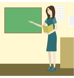 Teacher in a classroom standing next to chalkboard vector