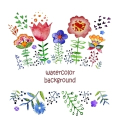 Composition with pretty watercolor flowers vector