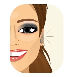 Smiling woman wearing a hearing aid vector