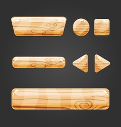 Set of wooden button for game design-4 vector