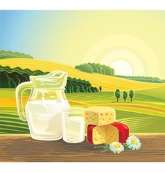 Farming landscape with dairy products vector