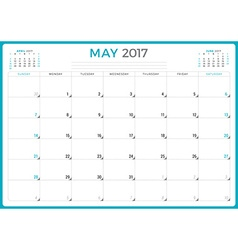 Calendar planner for 2017 year design template may vector