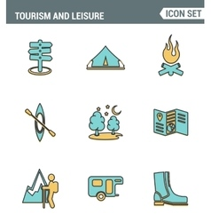 Icons line set premium quality of outdoor vector