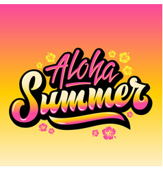 Aloha summer abstract hand lettering vector