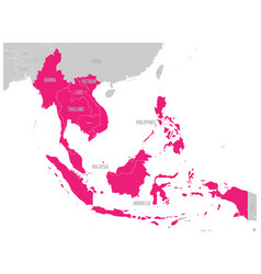 Asean economic community aec map grey map with vector