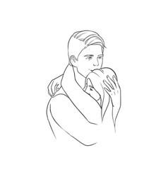 beautiful drawing of happy man and woman hugging vector image vector image
