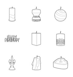candle icons set outline style vector image