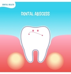 Cartoon bad tooth icon with dental abscess vector