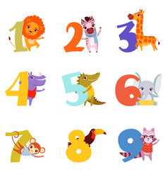 colorful numbers from 1 to 9 and animals cartoon vector image