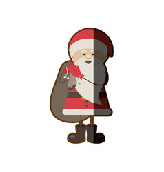 colorful silhouette caricature of santa claus with vector image vector image