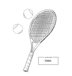 drawing tennis set vector image