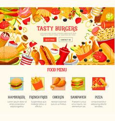 fast food restaurant lunch menu web banner design vector image vector image