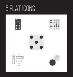 Flat icon play set of bones game gomoku chequer vector