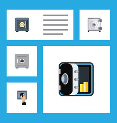 Flat icon safe set of banking locked closed and vector
