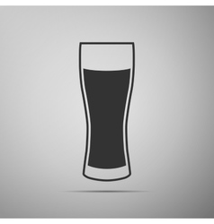 Glass of beer flat icon on grey background Adobe vector image vector image