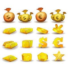 gold credit money coins set for game interface vector image vector image
