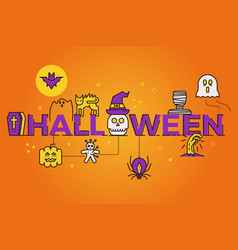 Halloween word banner poster design with line vector