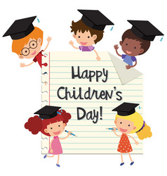 happy childrens day with kids wearing graduation vector image