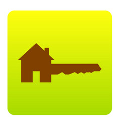 Home key sign brown icon at green-yellow vector