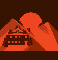 house in the mountains is flat style mountain vector image