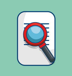 Paper document with magnifying glass isolated icon vector