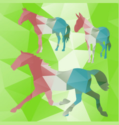 polygonal horse collection vector image vector image