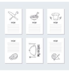 Recipe cards collection with hand drawn food vector