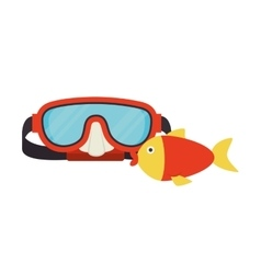 Red snorkel and fish vector