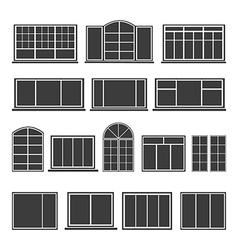 Set of silhouettes windows vector image