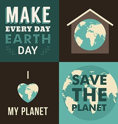 Set of Vintage Earth Day Celebrating Card or vector image