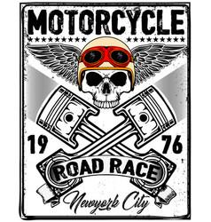 Skull t shirt motorcycle logo graphic design vector