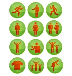 social symbols set green color isolated vector image
