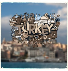 Turkey hand lettering and doodles elements vector image vector image
