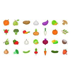 Vegetables icon set cartoon style vector