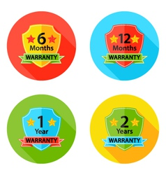 Warranty flat circle icons set 1 with shadow vector