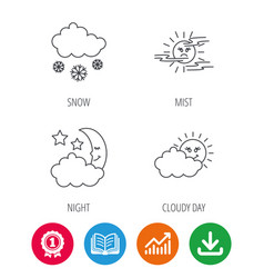 Weather mist and snow icons vector