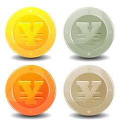 yen coins set vector image vector image