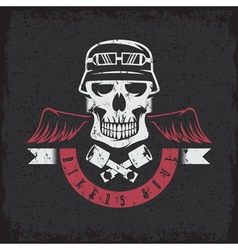 Biker theme grunge label with pistons wings and vector