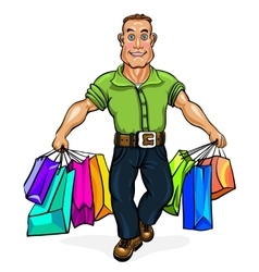 Go shopping a man carrying shopping bags vector