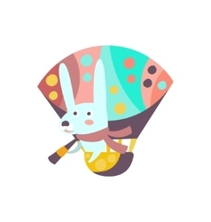 Bunny riding hot air balloon stylized fantastic vector