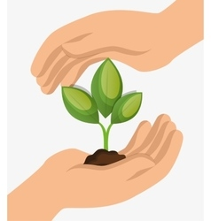 Environment concept hand hold plant icon design vector