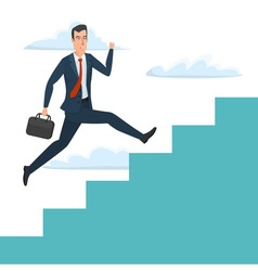 Businessman running up ladder of success Career vector image