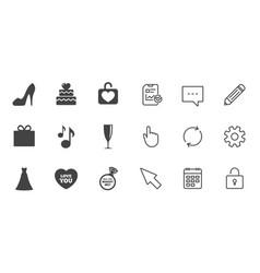 Wedding engagement icons cake gift box vector